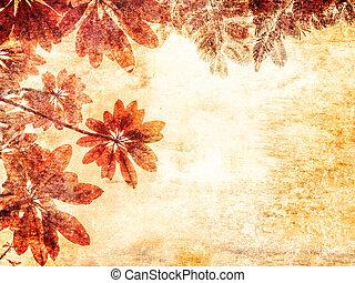 葉, 上に, グランジ, 背景