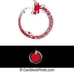葉, 中国語, 抽象的, ドラゴン, 草, ラウンド