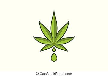 葉, 低下, マリファナ, 水, インド大麻, デザイン, ロゴ