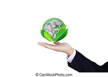 葉, 保護しなさい, 供給される, これ, business., 地球, 隔離された, ビジネスマン, 要素, 環境, バックグラウンド。, 日, nasa, eco 友好的, 保有物, 世界, 地球, 白, 手, イメージ