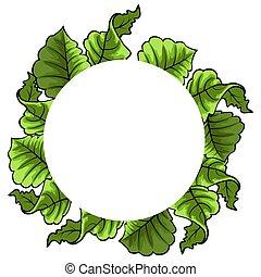 葉, 印刷, 抽象的, バックグラウンド。, ベクトル, 花, フレーム, design.