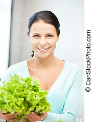 葉, 女, 緑 サラダ, 台所