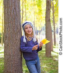 葉, 子供, 黄色, 手, 秋, ポプラ, 森林, 秋, 女の子