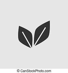 葉, 平ら, 対, アイコン