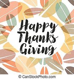 葉, 感謝祭, チョーク, 背景, カリグラフィー, 幸せ