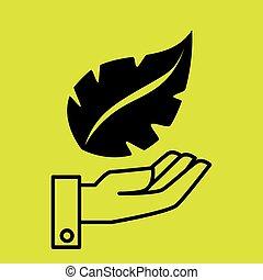 葉, 手, 木, 自然