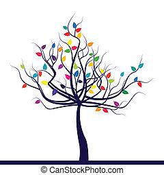 葉, 抽象的, 木, 有色人種