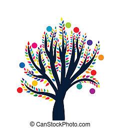 葉, 抽象的, 木, 有色人種, 成果
