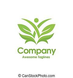 葉, 抽象的, 緑, 人間, ヘルスケア, ロゴ