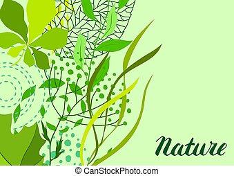 葉, 挨拶, 定型, 緑の背景, カード。