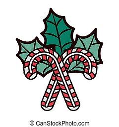 葉, 杖, クリスマス, キャンデー