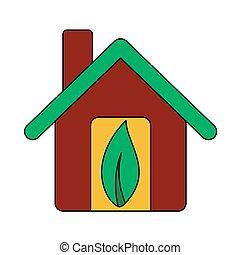 葉, 生態学的, アイコン, 家