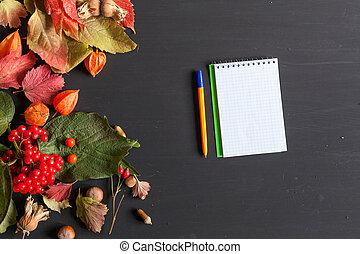 葉, 秋, ペン, ノート, 背景, 赤