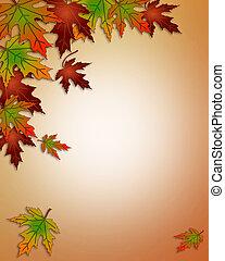 葉, 秋, ボーダー, 秋