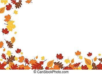 葉, 秋, 明るい, 秋, 落ちる, ボーダー, 横