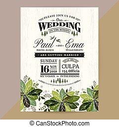 葉, 結婚式, 緑, 招待, 花, カード