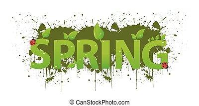 葉, 緑, デザイン, 春