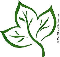 葉, 緑, low-poly, pictogram