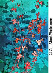 葉, 美しい, 芸術的, 背景, 青, 赤