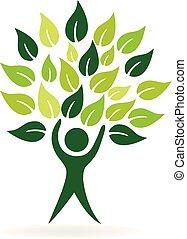 葉, 自然, 健康, 木, ベクトル, 人, アイコン