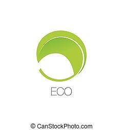 葉, 色, 抽象的, 隔離された, logotype., 形, ベクトル, 緑, minimalistic, 自然, icon., logo., ラウンド, element.