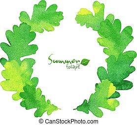 葉, 花輪, オーク, 水彩画, ベクトル, 緑