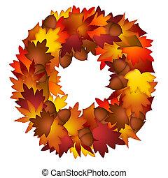 葉, 花輪, ドングリ, 秋
