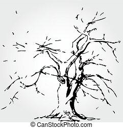 葉, 落ちた木, 抽象的