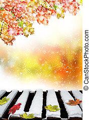 葉, 落ちている, 雪, かえで