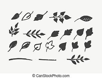 葉, 要素, 引かれる, 手, アイコン