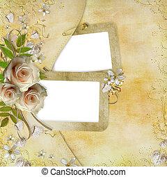 葉, 金, 紙カード, ばら, 美しい, 挨拶, 心, リボン
