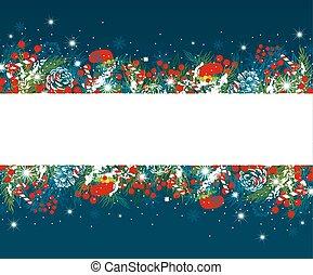 葉, 雪, イラスト, ベクトル, デザイン, 松, 背景, クリスマス, ベリー