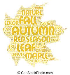 葉, 雲, イラスト, かえで, ポスター, 単語