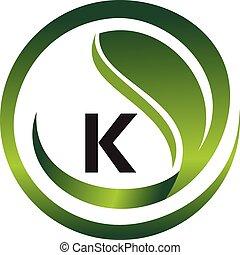 葉, 頭文字, k, ロゴ, デザイン, テンプレート, ベクトル