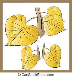 葉, 黄色の背景, ブランチ, 白, (autumn)
