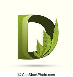 葉, d, インド大麻, 緑, 手紙, ロゴ