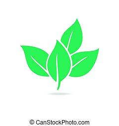 葉, eco, イラスト, isolated., ベクトル, 緑, アイコン