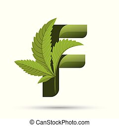 葉, f, インド大麻, 緑, 手紙, ロゴ