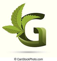 葉, g, インド大麻, 緑, 手紙, ロゴ