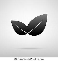 葉, icon., 黒