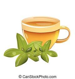 葉, illustration., カップ, お茶, 隔離された, ベクトル, 背景, 白, アイコン