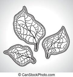 葉, isolated., マクロ, イラスト, ベクトル, 黒, 自然