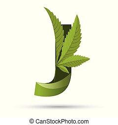 葉, j, インド大麻, 緑, 手紙, ロゴ