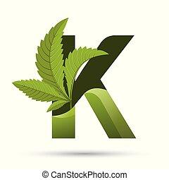 葉, k, インド大麻, 緑, 手紙, ロゴ