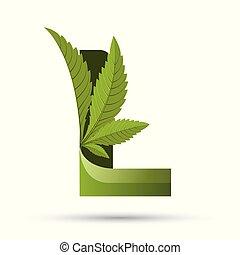 葉, l, インド大麻, 緑, 手紙, ロゴ