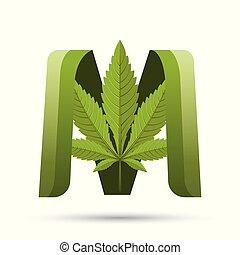 葉, m, インド大麻, 緑, 手紙, ロゴ