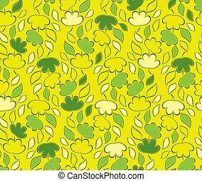 葉, seamless, 黄色, ベクトル, 緑の背景