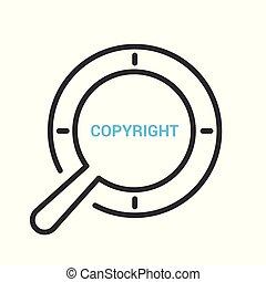 著作権, ガラス, 光学, 言葉, 法律, 拡大する, concept: