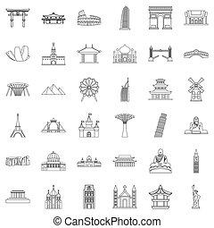 著名的地方, 圖象, 集合, outline, 風格