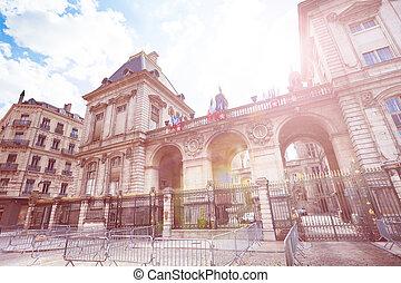 著名的地方, des, terreaux, 在, lyon, 法國